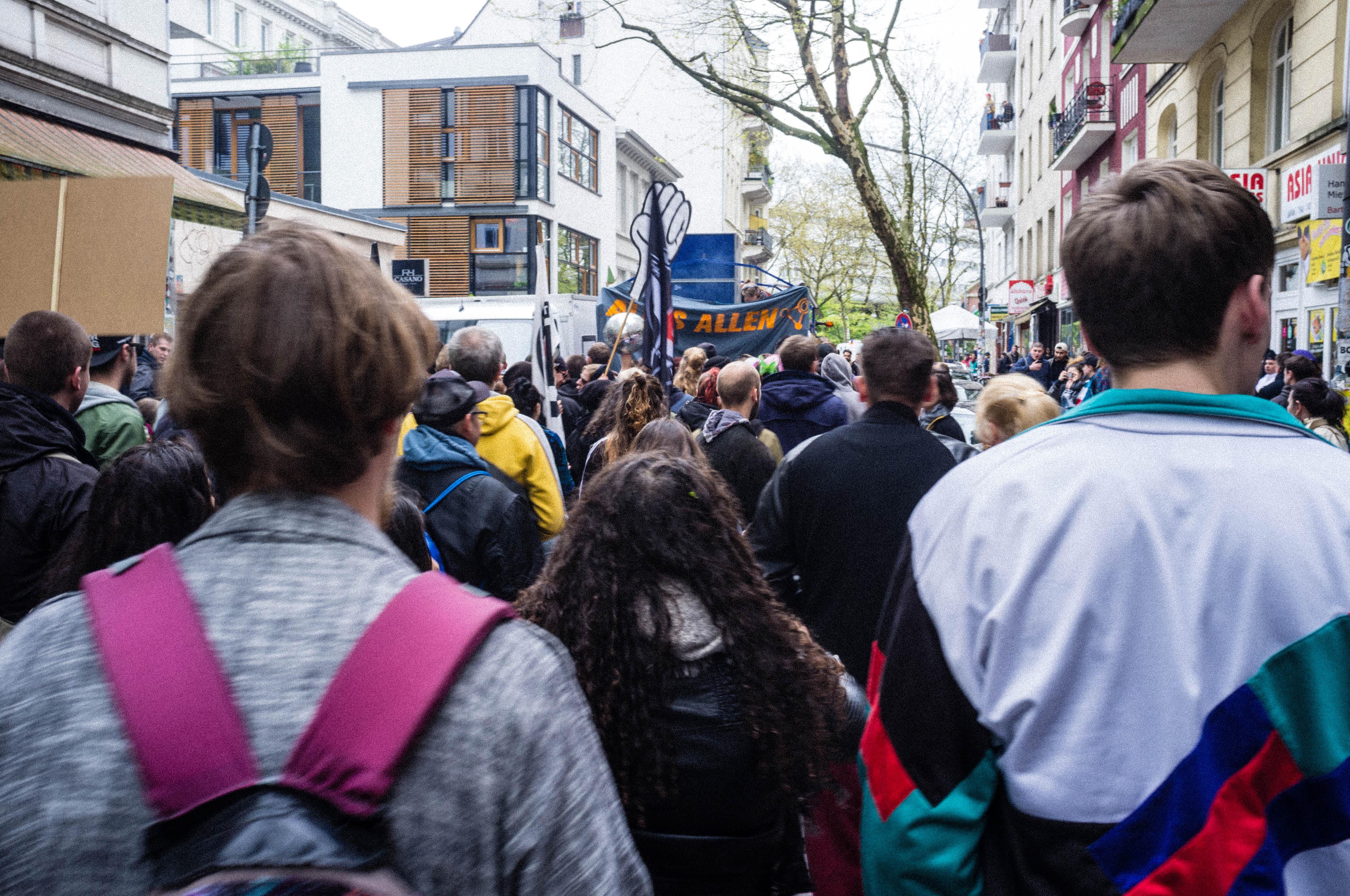 Demonstranten 1. Mai Hamburg