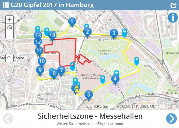 Screenshot: Digitales Kartenmaterial der Polizei Hamburg