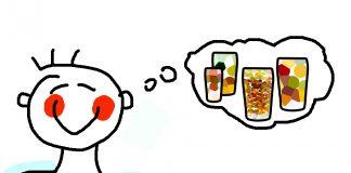 ein Mensch der an verschiedene Sorten von Bier denkt.