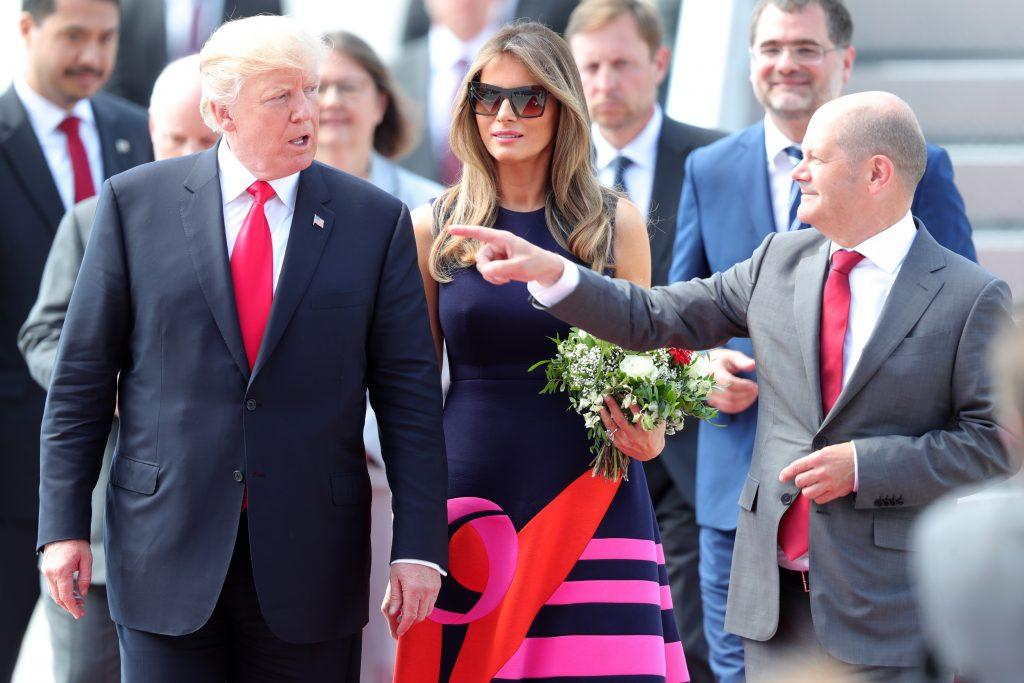 G20: Hamburgs Erster Bürgermeister Olaf Scholz begrüßt Donald Trump