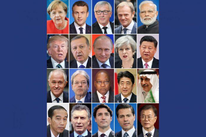 Teilnehmer G20-Gipfel. Bild: dpa