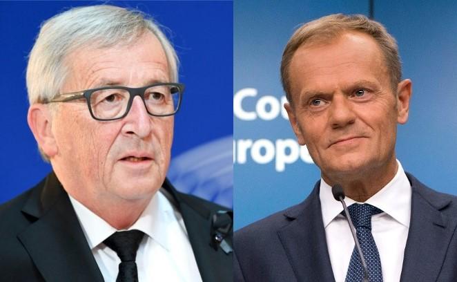 Links: Jean-Claude Juncker und Donald Tusk (EU). Bilder: dpa