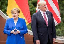 Bundeskanzlerin Angela Merkel und US-Präsident Donald Trump beim G7-Gipfel in Taormina. Foto: Michael Kappeler/dpa