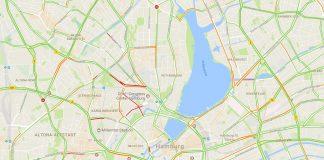 Verkehrslage zu G20, Stand 09:30 Uhr. Screenshot: Google Maps