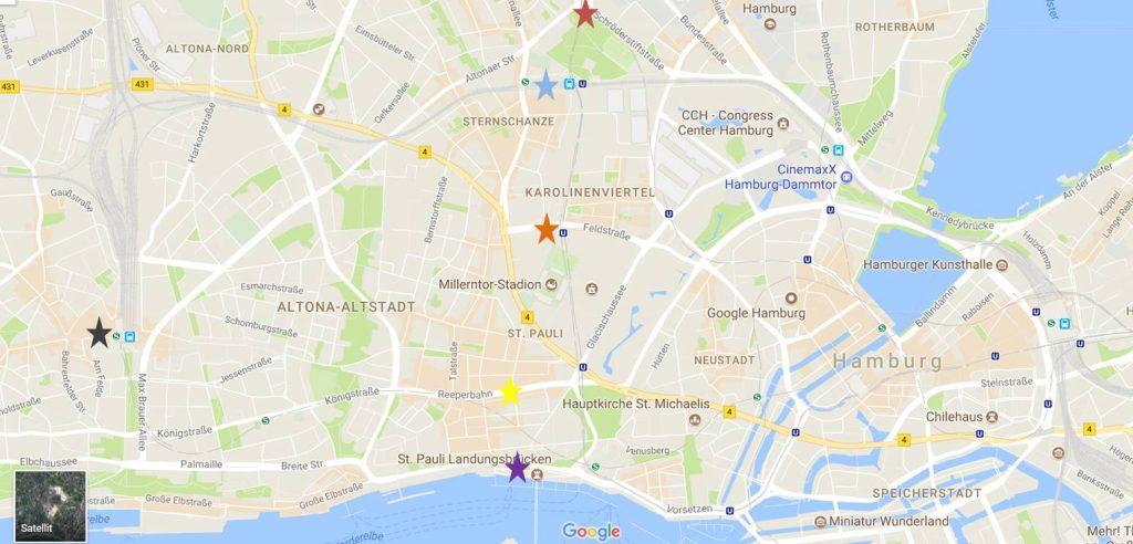 Die am stärksten betroffenen Orte in Hamburg sind mit Sternen gekennzeichnet.