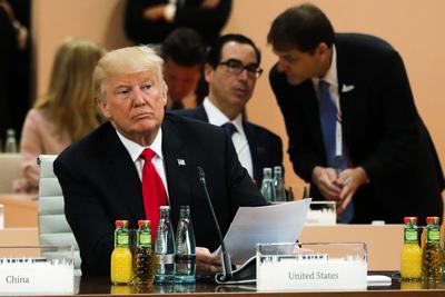 Donald Trump, Präsident der USA bei der 3. Arbeitssitzung der G20 Staats- und Regierungschefs.