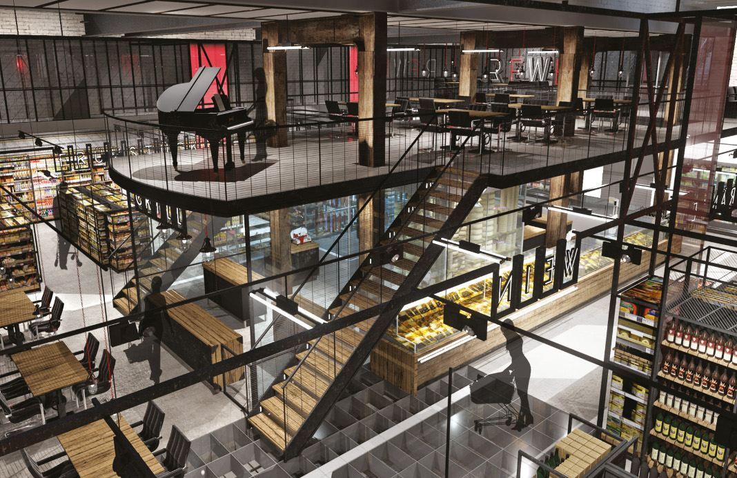 rewe plant filiale in zeisehallen in ottensen fink hamburg. Black Bedroom Furniture Sets. Home Design Ideas