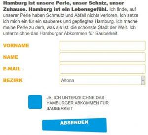 Hier kann man das Sauberkeitsabkommen unterzeichnen. Screenshot www.sauberes.hamburg.de
