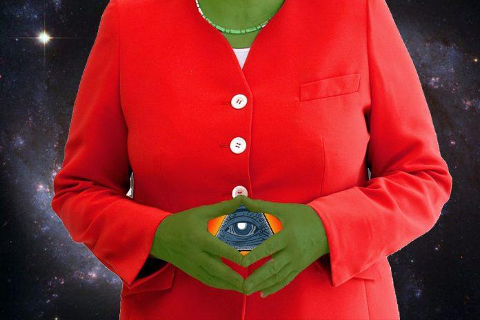 Angela Merkel gilt in einigen Verschwörungstheorien als Reptiloid oder Teil der Illuminati