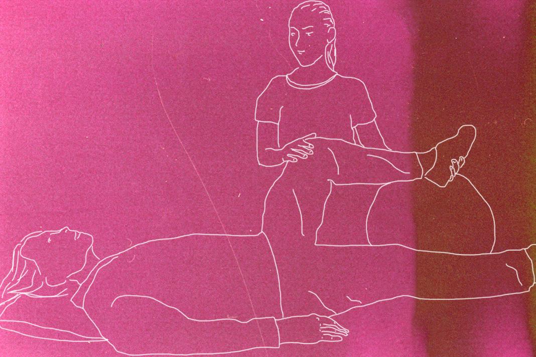 Training und Körperbewegungen gehören zur Pflege dazu. Illustration: Lukas Schepers