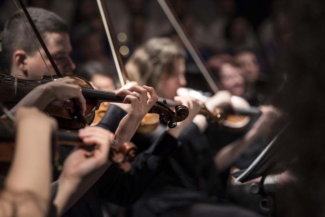 Violinenspieler in einem Orchester.