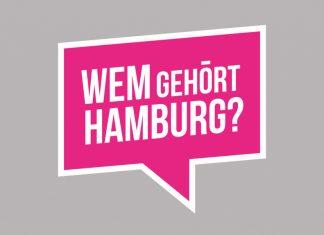 Weißer Schriftzug auf pinkem grund: Wem gehört Hamburg?