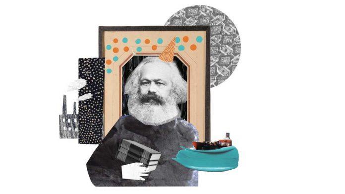 Karl Marx mit Fabriken, Bild und Geburtstaghut.
