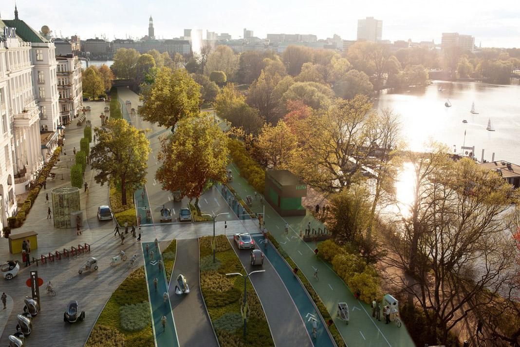 """Fahrradstadt Hamburg: Die Verkehrsflächen """"An der Alster"""" als Zukunftsszenario: So könnte es im Jahr 2030 vor dem heutigen Atlantic-Hotel aussehen."""