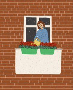 Frau wässert Blumen
