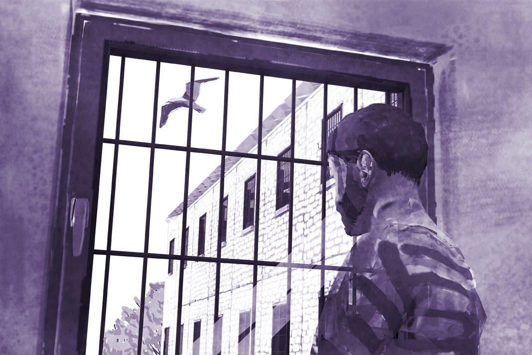 Blick aus einem Gefängnis in Hamburg. Illustration eines Häftlings