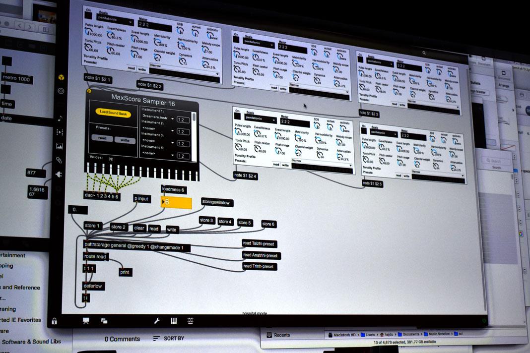 Die Oberfläche des Programms, mit dem die Klänge erzeugt werden.