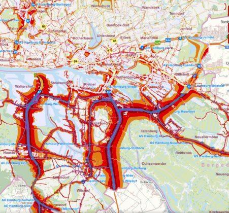 Ein Ausschnitt aus der interaktiven Lärmkarte von hamburg.de zeigt die Lärmdichte in Hamburgs Bezirken tagsüber und nachts.