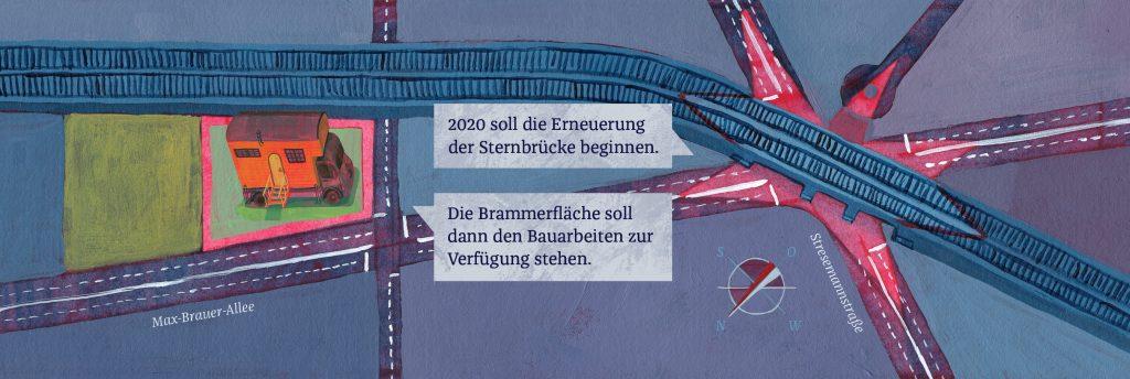 Sternenbrücke und Karte vom Wagenplatz Zomia. Illustration Lea Berndorfer