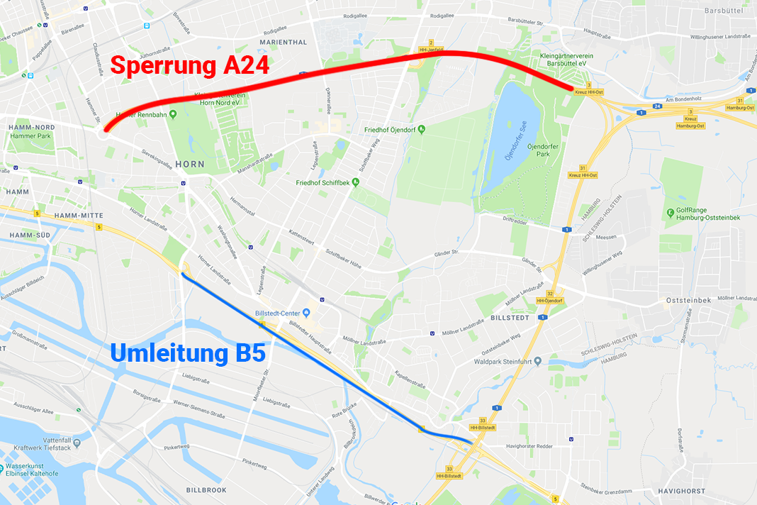 Zwischen dem Horner Kreisel und Dem Kreuz Hamburg-Ost ist die A24 gesperrt.