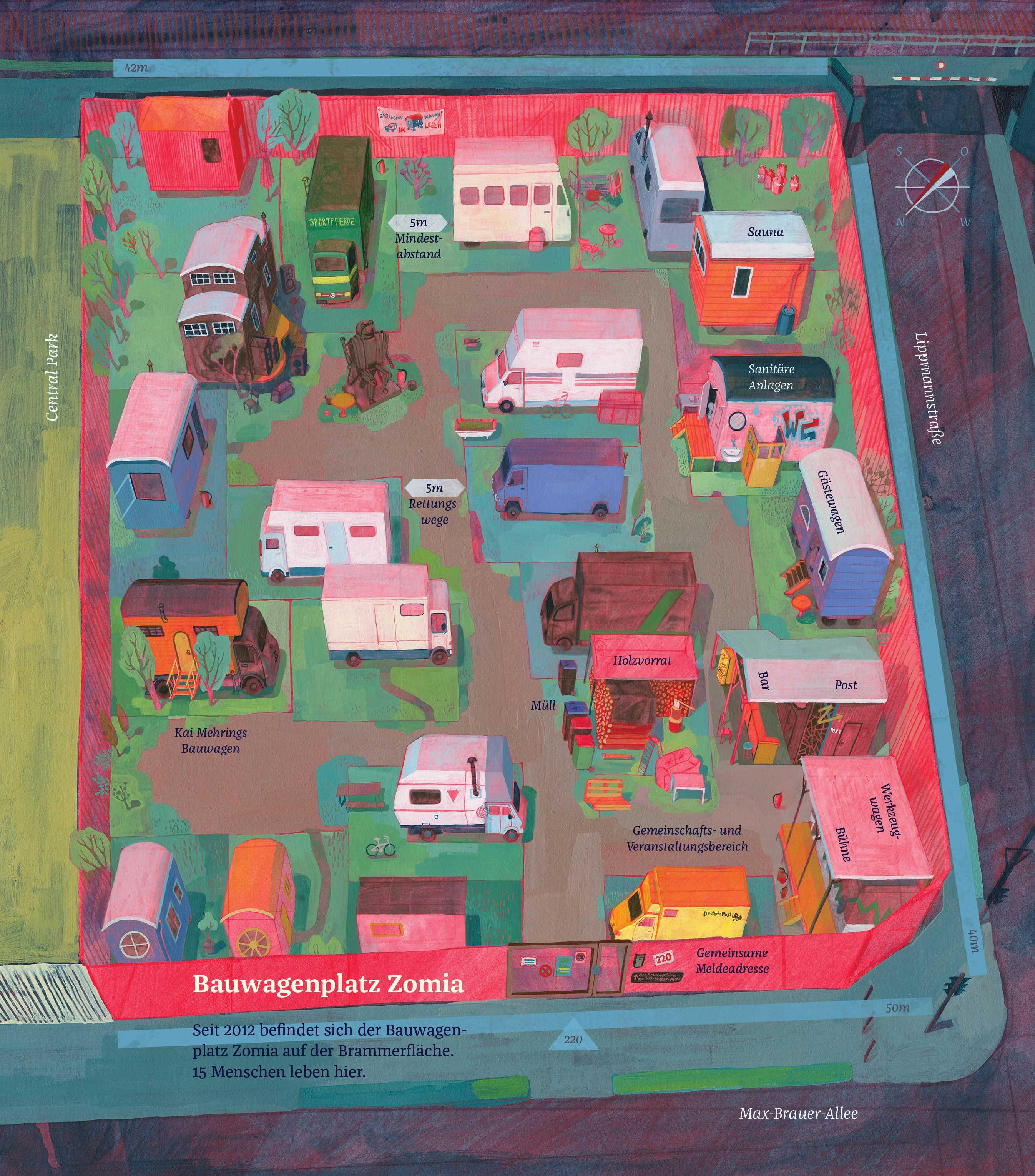 So sieht der Bauwagenplatz Zomia von oben aus. Illustration: Lea Berndorfer