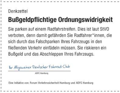 So sehen die Denkzettel der Aktion Radwegparker aus, die sich jeder zu Hause ausdrucken kann. Foto: ADFC Hamburg