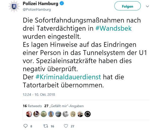Tweet der Hamburger Polizei am Abend des 10. Oktober zu dem Vorfall in Wandsbek.