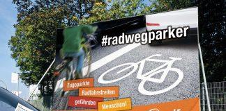 Mit diesen Plakaten machen der ADFC und das Forum Verkehrssicherheit auf die Aktion Radwegparker im Raum Hamburg aufmerksam. Foto: ADFC