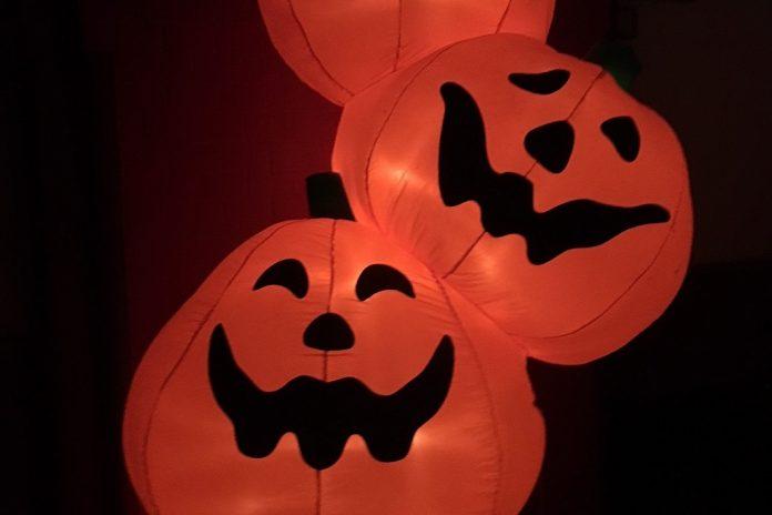 Halloween-Quiz: Beleuchtete Kürbisse mit gruseligem Gesicht