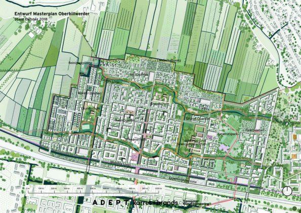 Der Entwurf der Masterplans Oberbillwerder zeigt die verschiedenen Quartiere von oben.