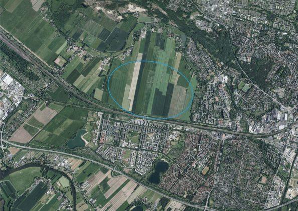 Das Luftbild zeigt die Bebauungsfläche, auf welcher Oberbillwerder entstehen soll.