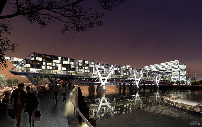 2006: Der Hamburger Architekt Hadi Teherani veröffentlichte 2006 mit seinem Büro die Idee einer belebten Brücke - der Living Bridge - über die Elbe. Visualisierung: Gärtner + Christ, Hamburg