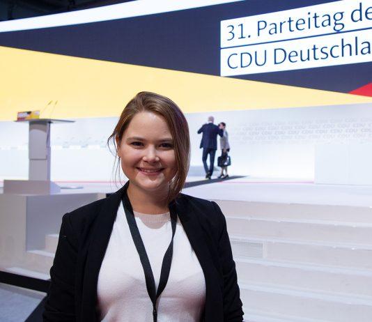 Antonia Haufler beim CDU-Parteitag in Hamburg. Foto: Amelie Rolfs