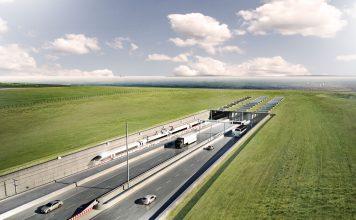 So könnte er in 10 Jahren aussehen: Der geplante Fehmarnbelt-Tunnels zwischen Deutschland und Dänemark. Foto: ICONO A/S für Femern A/S/Grafische Darstellung: Femern A/S/dpa