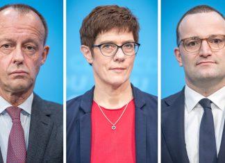 Annegret Kramp-Karrenbauer, Generalsekretärin der CDU (M), Jens Spahn (CDU, r), Bundesgesundheitsminister Friedrich Merz (CDU) nehmen an einer Veranstaltung der Frauen-Union teil. Die drei Politiker wollen sich beim Parteitag für die Nachfolge von Merkel im Amt des CDU-Bundesvorsitzenden bewerben.