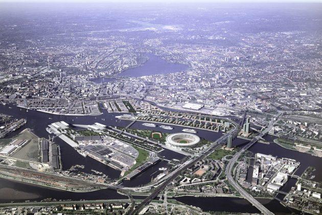 2002 gab es erstmals die Idee, die Olympischen Spiele in Hamburg auszutragen. Der Wunsch: Olympia der kurzen Wege direkt am Wasser. Schlussendlich haben die Spiele 2012 in London stattgefunden. Visualisierung: Gärtner + Christ, Hamburg