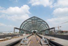 Die Haltestelle Elbbrücken der Linie U4 wurde gestern eröffnet. Foto: Daniel Reinhardt/dpa