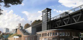 Visualisierung der U3-Bauarbeiten an der Haltestelle Landungsbrücken.