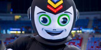 Das Maskottchen der Handball-WM Stan schaut in die Kamera.Foto: Sascha Klahn/DHB