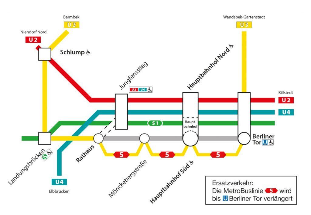 Sperrung U3: Übersichtsplan der U3-Sperrung.