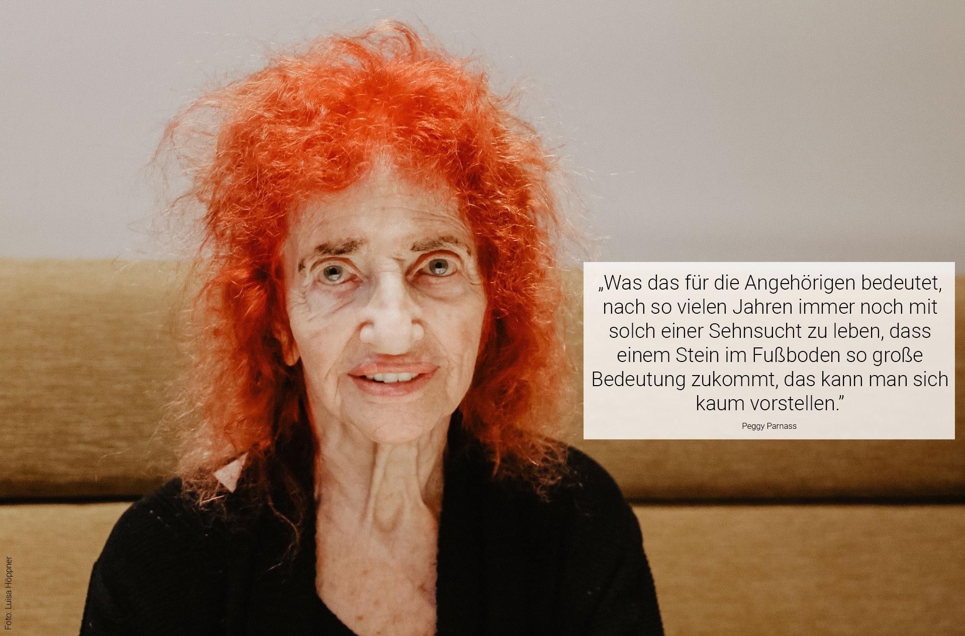 Peggy Parnass ist eine der letzten Holocaust Überlebenden. Heute lebt sie auf der Langen Reihe. Foto: Luisa Höppner