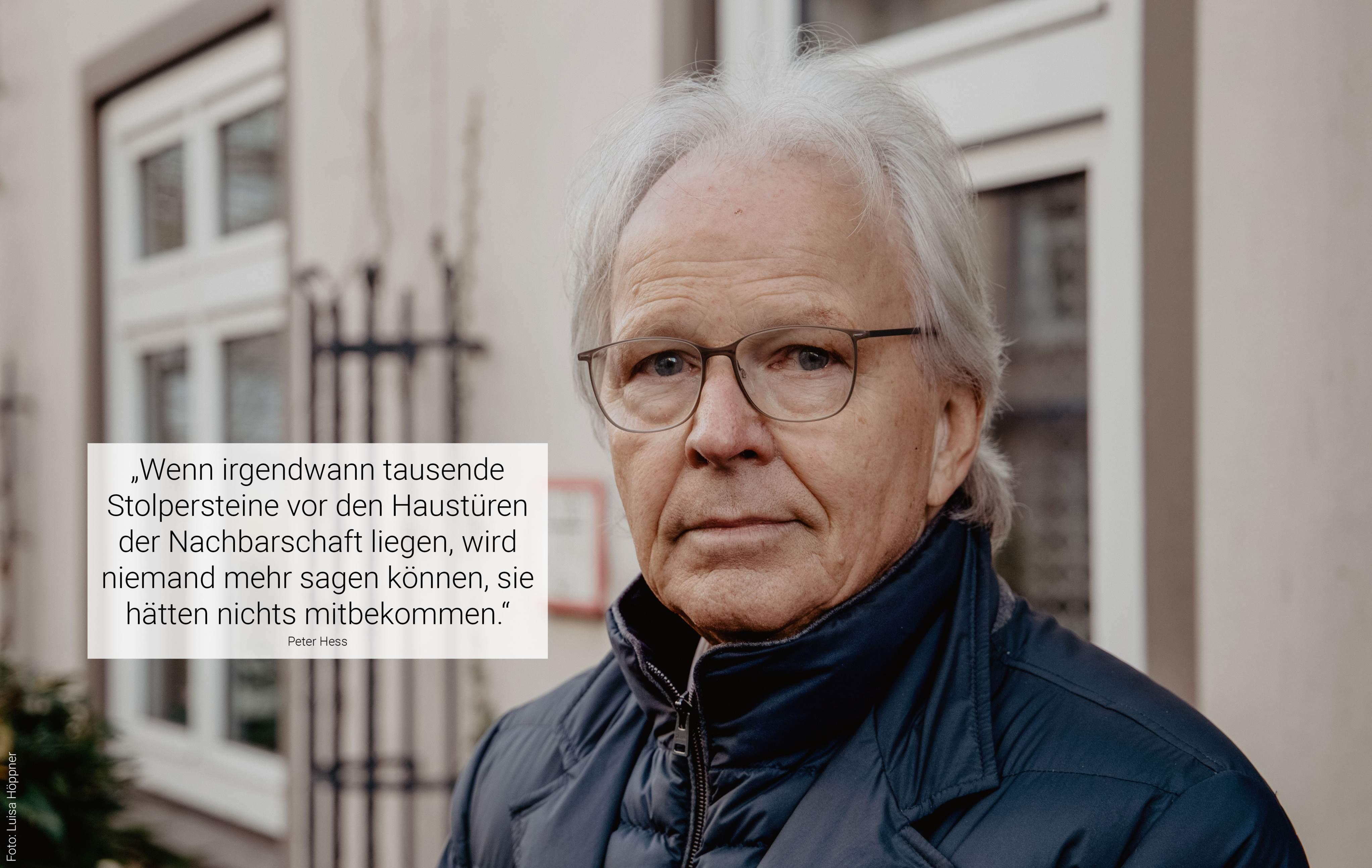 Peter Hess hat das Projekt Stolpersteine nach Hamburg geholt. Foto: Luisa Höppner