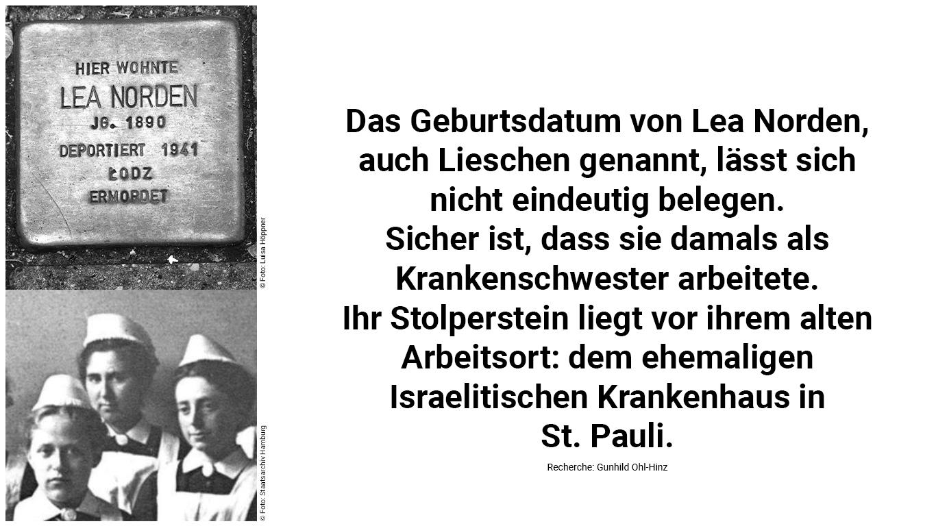 Stolperstein und Biografie von Lea Norden.