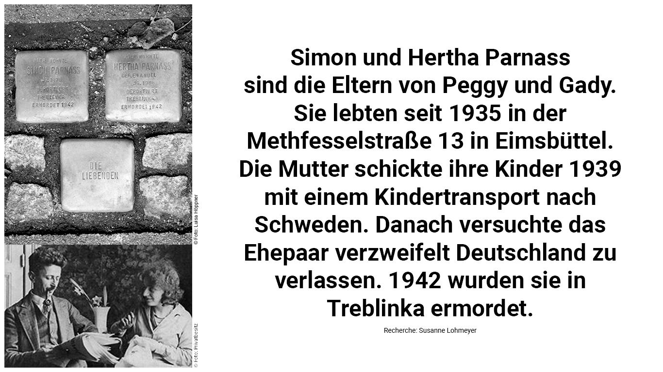 Stolperstein und Biografie von Simon und Hertha Parnass.