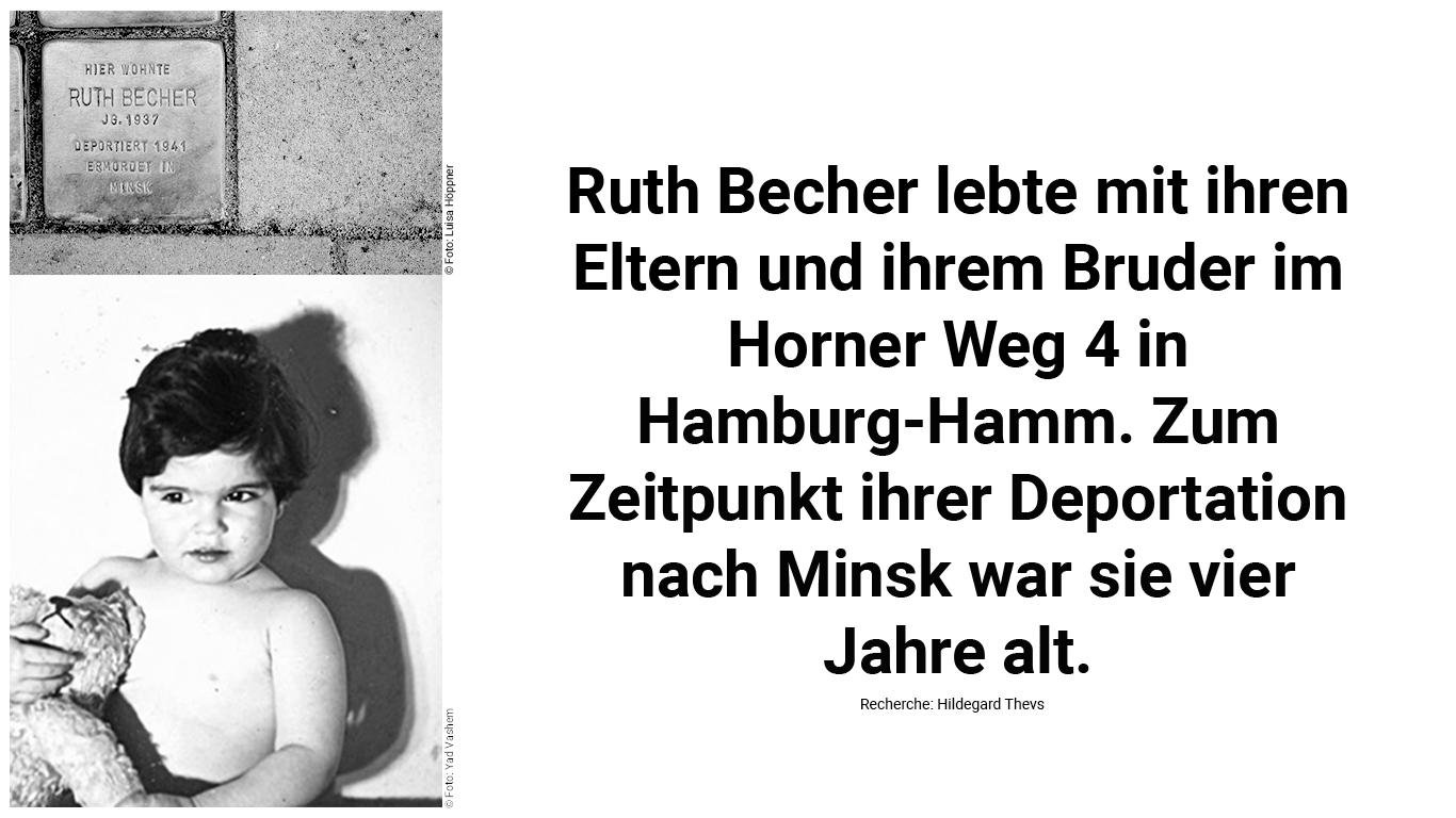 Stolperstein und Biografie von Ruth Becher.
