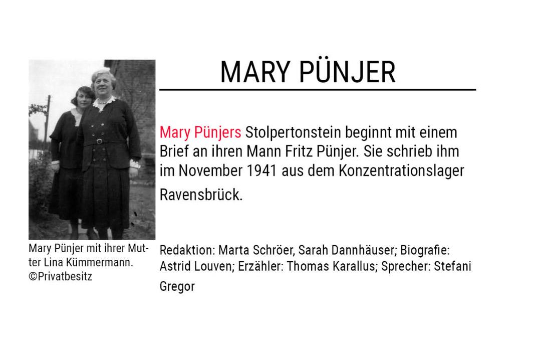 Stolpertonstein von Mary Pünjer