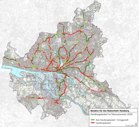 Übersichtsplan über den Handlungsbedarf im Veloroutennetz, Stand: 05.09.2019 Grafik: Behörde für Wirtschaft, Verkehr und Innovation