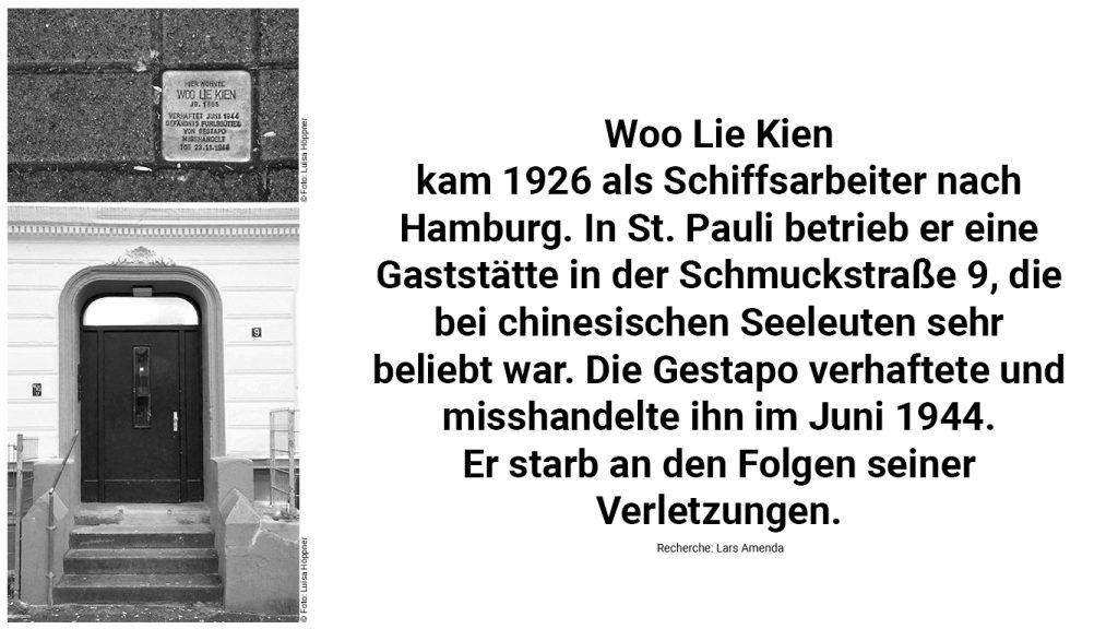 Stolperstein und Biografie von Woo Lie Kien.