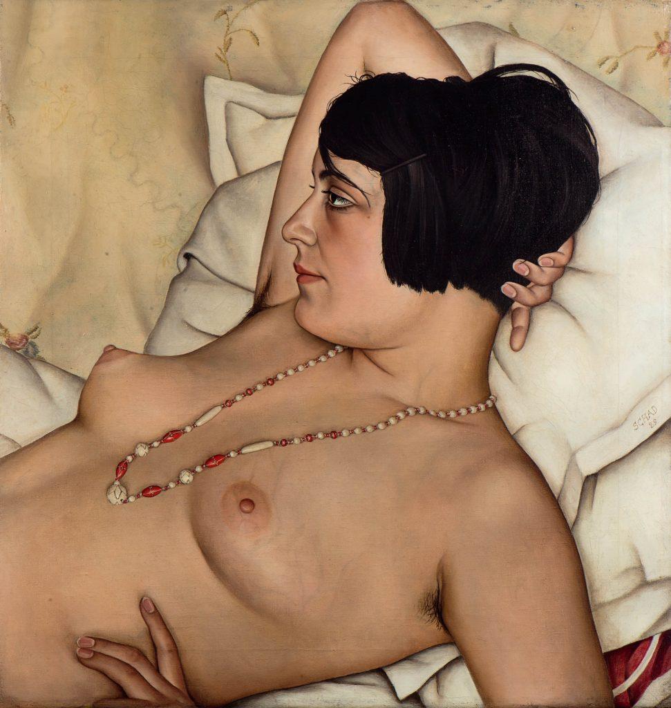 Gemälde Christian Schad, halbnackte Frau