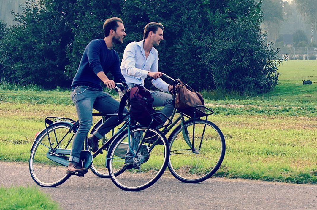 Zwei Fahrradfahrer vor einer grünen Wiese